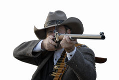 Deputy with Rifle. Western style deputy sheriff takes aim with rifle.  Isolated with clipping path Royalty Free Stock Image