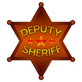 Deputy Sheriff abstract badge. Isolated against the white Royalty Free Stock Photo