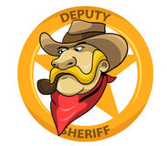 Deputy Sheriff. Sheriff head and star badge behind him Royalty Free Stock Images