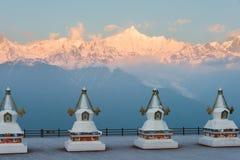 DEQIN, CHINA - 16. MÄRZ 2015: Morgen-Ansicht des Meili-Schnee-Berges Lizenzfreies Stockbild