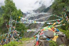DEQIN, CHINE - 5 août 2014 : Temple de Lianhua au glacier de Minyong a Photos libres de droits