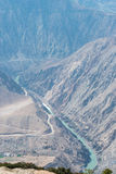 DEQIN, CHINE - 15 MARS 2015 : Le fleuve Lancang à la montagne de neige de Meili Photographie stock libre de droits