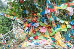 DEQIN CHINY, Aug, - 5 2014: Modlitw flaga przy Minyong lodowem fa Fotografia Stock
