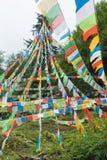 DEQIN CHINY, Aug, - 5 2014: Modlitw flaga przy Minyong lodowem fa Zdjęcia Royalty Free