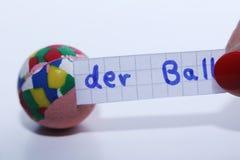Der球词用球的德语用英语 免版税图库摄影