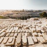 Der Ölberg und der alte jüdische Kirchhof in Jerusalem, Israel Stockfotos