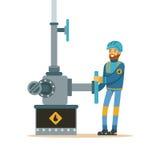 Der Ölindustrielle, der an einer Ölpipeline arbeiten, die Erdölindustrieextraktion und die Raffinerieproduktion vector Illustrati vektor abbildung