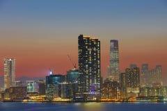 Der Abend über Victoria Harbour Lizenzfreie Stockfotografie