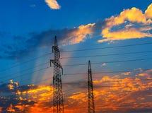 Der Abend des Pylonentwurfs, ist- sehr schön Stockbilder