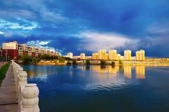 Der Abend des Yandu Sees Stockfotos