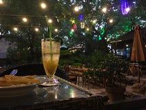 Der Abend in einem Café unter starken Bäumen Lizenzfreies Stockbild
