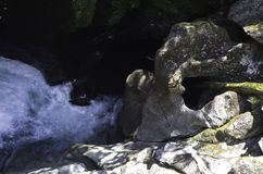 Der Abgrund in Nationalpark Fiordland Schönes Neuseeland Stockfotografie