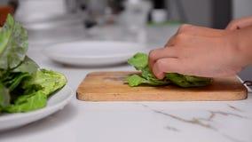 Der Abschluss, der hoch sind und der Transportwagenschieber schossen die Frauenhand, die grünes Gemüse auf weißer Tabelle HD 1920 stock video