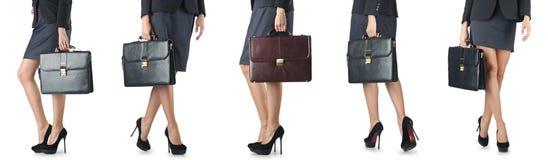 Der Abschluss oben des Aktenkoffers und der Geschäftsfrau Lizenzfreies Stockfoto