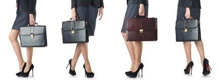Der Abschluss oben des Aktenkoffers und der Geschäftsfrau Lizenzfreie Stockfotografie