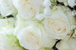 Der Abschluss oben des Blumenstraußes der frischen Rosen, selektiver Fokus Lizenzfreie Stockbilder