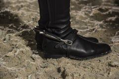 Der Abschluss oben von Jockey ` €™s-Schuhen Dressage, das Pferdenspringen und Polopferde und -mitfahrer vector Schattenbilder Stockfotos
