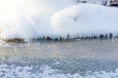 Der abstrakte Hintergrund des Eises, des Schnees und des Reifs Stockfotografie
