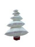 Der abstrakte kreative Weihnachtsbaum, der von den Kissen gemacht wurde, lokalisierte ove Lizenzfreie Stockbilder