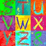 Der abstrakte Texteffekt in den hellen Farben unter Verwendung der Bürsten, Spray, Tinte, Schmutz Abstrakter bunter Hintergrund Stockfoto