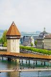 Der achteckige hohe Turm in der Luzerne Stockbild