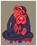 Der Affe der blauen Farbe hält Herz in der Hand Stockfotografie