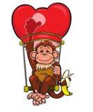 Der Affe fliegt auf eine rote chinesische kleine Lampe Lizenzfreie Stockbilder