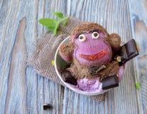 Der Affe wird von der Eiscreme gemacht Lizenzfreies Stockbild