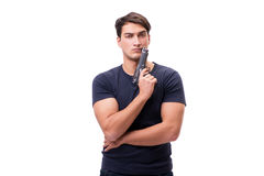 Der aggressive junge Mann mit dem Gewehr lokalisiert auf Weiß Stockfotos