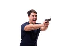 Der aggressive junge Mann mit dem Gewehr lokalisiert auf Weiß Stockbilder