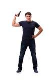 Der aggressive junge Mann mit dem Gewehr lokalisiert auf Weiß Lizenzfreie Stockfotografie
