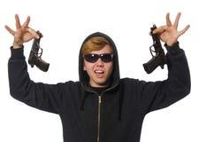 Der aggressive Mann mit dem Gewehr lokalisiert auf Weiß Stockfotografie