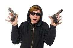 Der aggressive Mann mit dem Gewehr lokalisiert auf Weiß Stockbilder