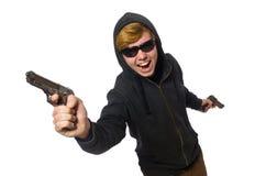 Der aggressive Mann mit dem Gewehr lokalisiert auf Weiß Lizenzfreies Stockbild