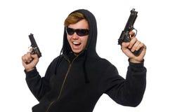 Der aggressive Mann mit dem Gewehr lokalisiert auf Weiß Lizenzfreie Stockbilder