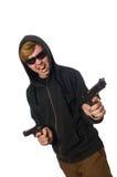 Der aggressive Mann mit dem Gewehr lokalisiert auf Weiß Stockfoto