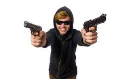 Der aggressive Mann mit dem Gewehr lokalisiert auf Weiß Lizenzfreie Stockfotografie