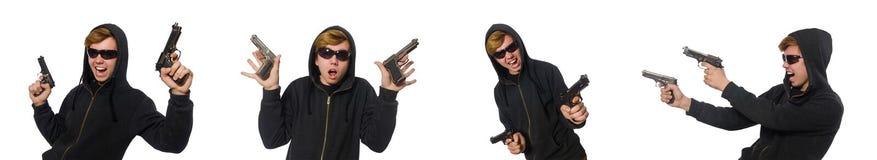 Der aggressive Mann mit dem Gewehr lokalisiert auf Weiß Lizenzfreie Stockfotos