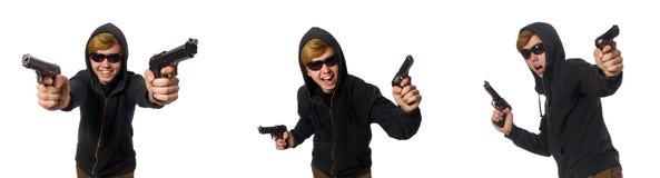 Der aggressive Mann mit dem Gewehr lokalisiert auf Weiß Stockfotos