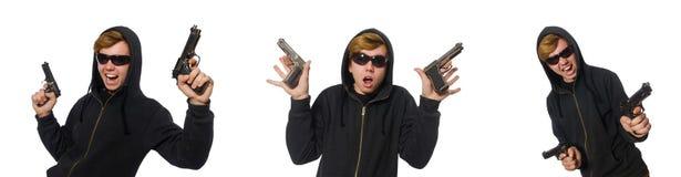 Der aggressive Mann mit dem Gewehr lokalisiert auf Weiß Stockbild