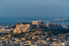 Der Akropolishügel in Athen Griechenland Stockfotos