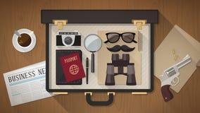 Der Aktenkoffer des Detektivs Lizenzfreie Stockfotos