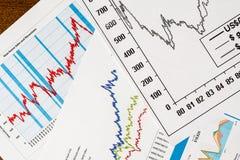 Der Aktienpreis, die Statistiken auf dem Tisch Lizenzfreie Stockfotos