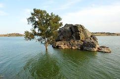 Der Alange-Reservoirpanoramablick, Badajoz-Provinz, Extremadura, Spanien Lizenzfreie Stockfotografie