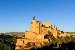 Der Alcazar von Segovia bei Sonnenuntergang, Segovia, Spanien Stockbilder