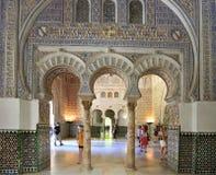 Der Alcazar von Sevilla ist ein Innenraum des königlichen Palastes, Spanien Stockbilder