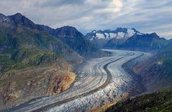 Der Aletsch-Gletscher in den Alpen Lizenzfreies Stockbild