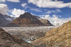 Der Aletsch-Gletscher in der Schweiz Stockbilder