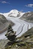 Der Aletsch Gletscher, Schweizer Bezirk von Wallis. Stockbild