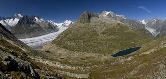 Der Aletsch Gletscher und der See Lizenzfreie Stockbilder